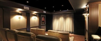 The Mott Custom Home Theatre Was Designed In Such A Way To Provide Client With Warm And Comfortable Environment Use Of Both Deep Soft Earth